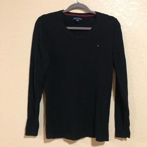 Tommy Hilfiger XL Black Cable Knit Sweater